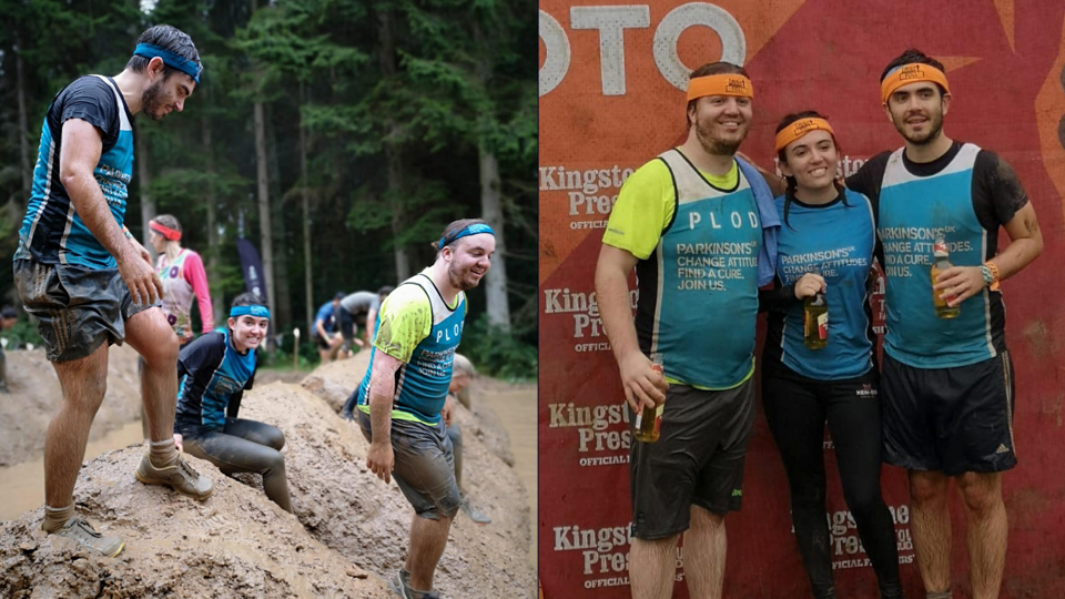 Grace and her brothers complete the Tough Mudder for Parkinson's UK