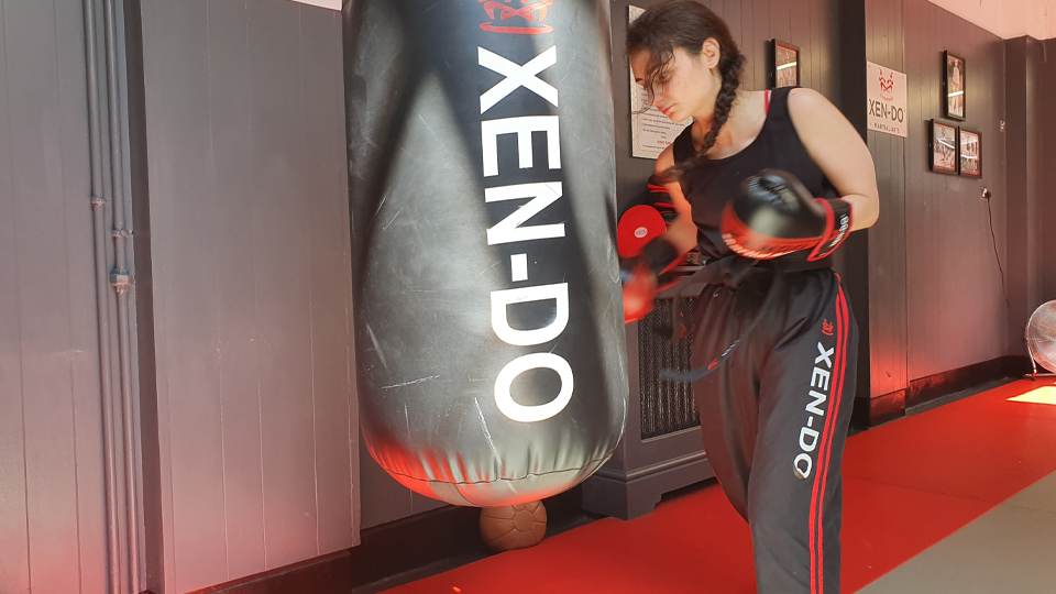 Arghierenia Kyrimi practicing with a punch bag
