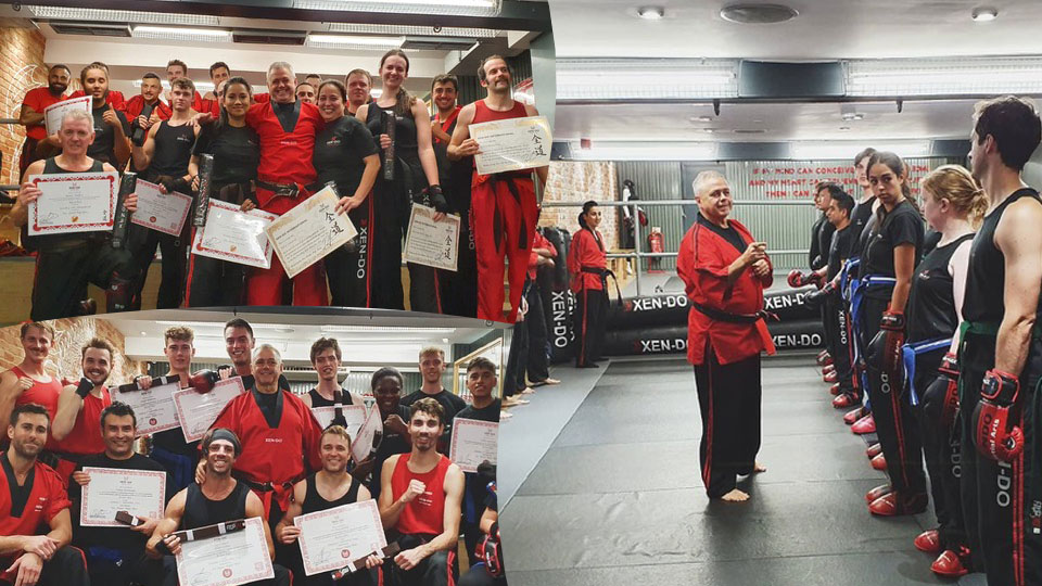 Montage of xen-do students grading and certificate presentations